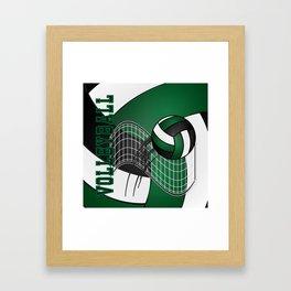 Volleyball Game - Dark Green Framed Art Print