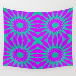 Purple & Teal Pinwheel Flowers Wall Tapestry