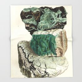 Vintage Mineralogy Illustration Throw Blanket