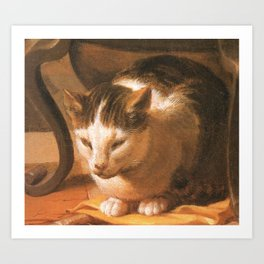 Cat in the art – Le brun – The sleep of the baby Jesus. Art Print