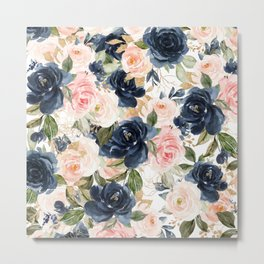 Navy Pink Watercolor Floral Pattern Nursery Flowers Metal Print