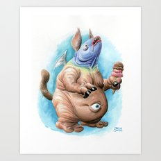 Glarglarac Loves His Ice Cream Art Print