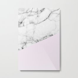 Real White Marble Half Baby Pink Modern Abstract Shapes Metal Print