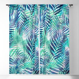 Palm Leaves - Indigo Green Blackout Curtain