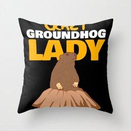 Crazy Groundhog Lady Woman Garden Tee Throw Pillow