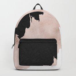 Modern black lace pink rose gold brushstrokes Backpack