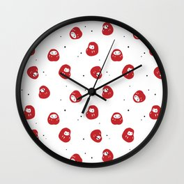 Daruma Lucky Charms Wall Clock