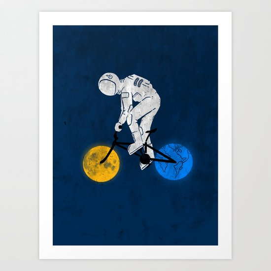 Astronaut on bicycle Art Print