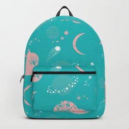 Modern Pastel Pink Mint Blue Geometrical Galaxy Pattern Backpack