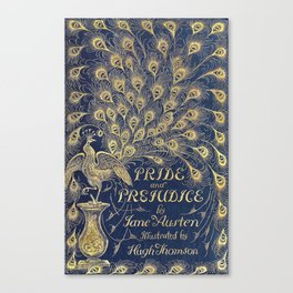Pride and Prejudice by Jane Austen Vintage Peacock Book Cover Canvas Print