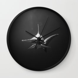 Hammerhead Shark (Black and White) Wall Clock