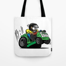 Cartoon racing riding lawnmower tractor popping a wheelie Tote Bag