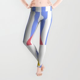 PAPER BOAT ORIGAMI IN RED WHITE & YELLOW COLORS WITH VERTICAL BLUE STRIPES Leggings