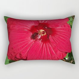 Hibiscus 'Fireball' - regal red star of my late summer garden Rectangular Pillow