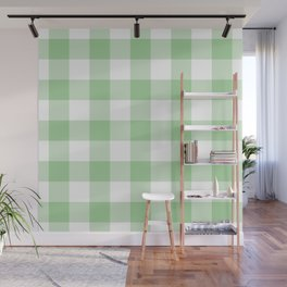 Mint Gingham Pattern Wall Mural