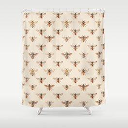 Vintage Bee Illustration Pattern Shower Curtain