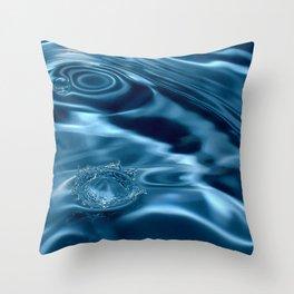 Deep Blue Drip Throw Pillow