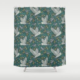 Flying owls and bat amoung yellow berries and green leaves Shower Curtain