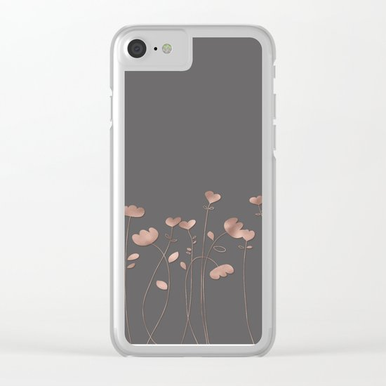 Rosegold pink flowers- floral design- Flower Clear iPhone Case