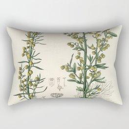 Mugwort (Artemisia)  from Medical Botany (1836) by John Stephenson and James Morss Churchill Rectangular Pillow