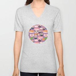 Kawaii sushi purple Unisex V-Neck