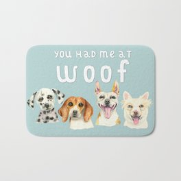 Cute Dogs You Had Me At Woof Watercolor Bath Mat