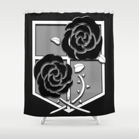 attack on titan Shower Curtains featuring Attack on Titan Stationary Guard by InVERT1X