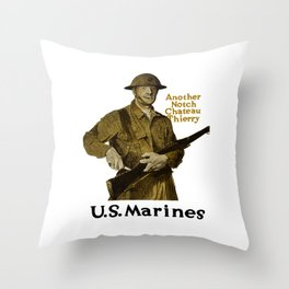 Marines -- Another Notch Chateau Thierry Throw Pillow