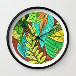 Watercolor leaves of trees Wall Clock