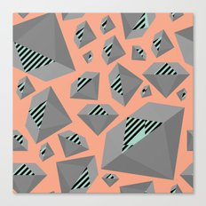 Mint and Gray Diamond on Peach Canvas Print