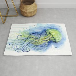Jellyfish Watercolor Beautiful Sea Creatures Rug