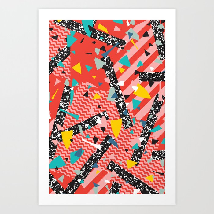 modern memphis milan inspired primary color geometric stripe design red confetti 80s party art print - Primary Color Pictures