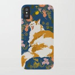 Yawning Cat - Blue iPhone Case