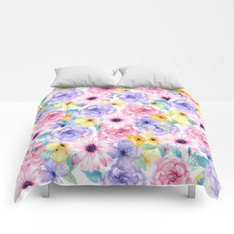 Trendy pink lavender yellow watercolor floral Comforters