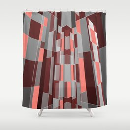 Modern geometric architecture in coral, grey and red Shower Curtain