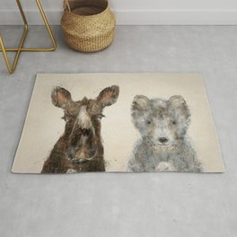 the little wolf and little moose Rug