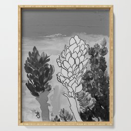 Alpinia purpurata – Red Ginger Flower - Black and White Greyscale Serving Tray