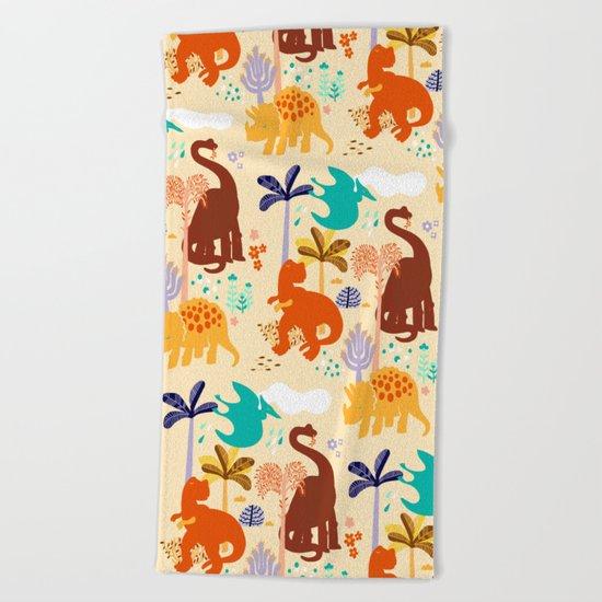 jurassic classic pattern Beach Towel