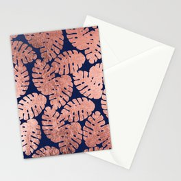 Elegant navy blue faux rose gold tropical leaves Stationery Cards