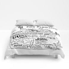 San Francisco Map Illustration Comforters