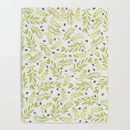 Watercolor Olive Branches Pattern Poster