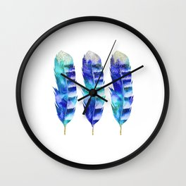Blue Turquoise Watercolor Feather Art Wall Clock