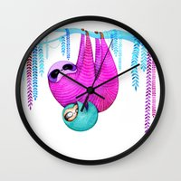 sloths Wall Clocks featuring Sloths by Annya Kai