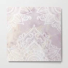 MANDALA ON PINK MARBLE Metal Print