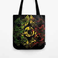 maori Tote Bags featuring Rasta Colors on Maori Patterns by Lonica Photography & Poly Designs