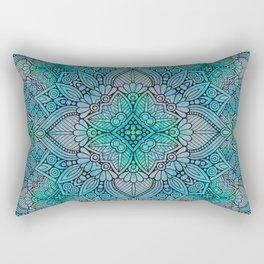 Turquoise Flower Mandala Rectangular Pillow