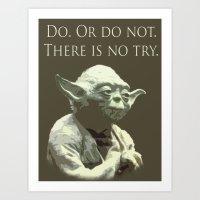 yoda Art Prints featuring Yoda by DisPrints