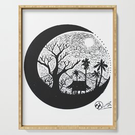 """Cabana Moon"" Hand-Drawn by Dark Mountain Arts Serving Tray"
