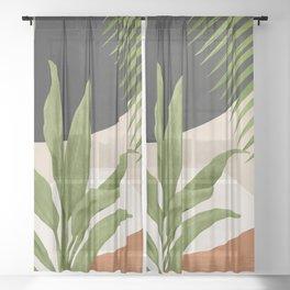Abstract Art Tropical Leaf 11 Sheer Curtain