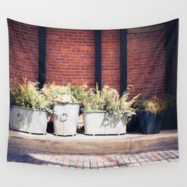 Potted Plants, Light, Shadow, from My street photography collection Wall Tapestry